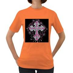 Hot Pink Rhinestone Cross Dark Colored Womens'' T Shirt