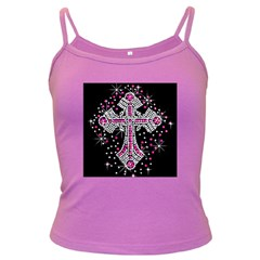 Hot Pink Rhinestone Cross Dark Colored Spaghetti Top