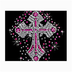 Hot Pink Rhinestone Cross Glasses Cleaning Cloth