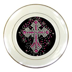 Hot Pink Rhinestone Cross Porcelain Display Plate