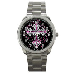 Hot Pink Rhinestone Cross Stainless Steel Sports Watch (round)
