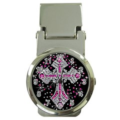 Hot Pink Rhinestone Cross Chrome Money Clip With Watch