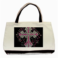 Hot Pink Rhinestone Cross Black Tote Bag