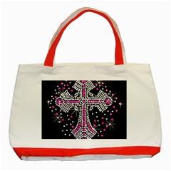 Hot Pink Rhinestone Cross Red Tote Bag