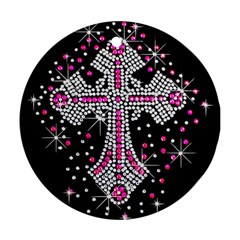 Hot Pink Rhinestone Cross Twin Sided Ceramic Ornament (round)