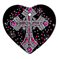 Hot Pink Rhinestone Cross Heart Ornament (Two Sides)