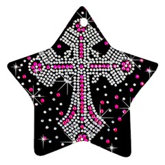 Hot Pink Rhinestone Cross Twin Sided Ceramic Ornament (star)