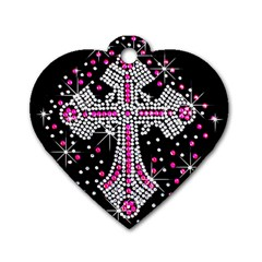 Hot Pink Rhinestone Cross Single-sided Dog Tag (Heart)