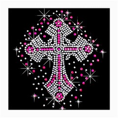Hot Pink Rhinestone Cross Single Sided Large Glasses Cleaning Cloth