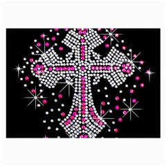 Hot Pink Rhinestone Cross Single Sided Handkerchief
