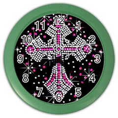 Hot Pink Rhinestone Cross Colored Wall Clock