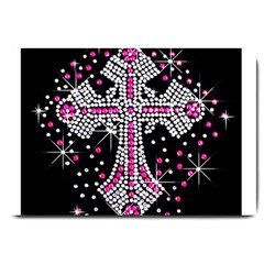 Hot Pink Rhinestone Cross Large Door Mat