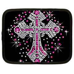 Hot Pink Rhinestone Cross 12  Netbook Case