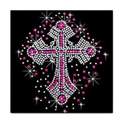 Hot Pink Rhinestone Cross Face Towel