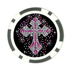 Hot Pink Rhinestone Cross 10 Pack Poker Chip