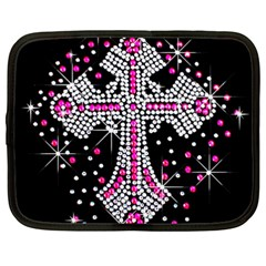 Hot Pink Rhinestone Cross 15  Netbook Case