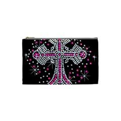 Hot Pink Rhinestone Cross Small Makeup Purse