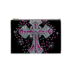 Hot Pink Rhinestone Cross Medium Makeup Purse