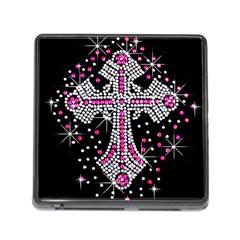 Hot Pink Rhinestone Cross Card Reader With Storage (square)