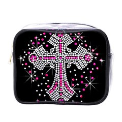 Hot Pink Rhinestone Cross Single-sided Cosmetic Case
