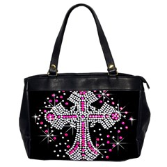 Hot Pink Rhinestone Cross Twin-sided Oversized Handbag