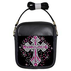 Hot Pink Rhinestone Cross Kids  Sling Bag