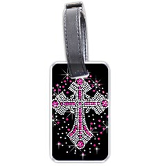 Hot Pink Rhinestone Cross Twin-sided Luggage Tag
