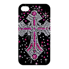 Hot Pink Rhinestone Cross Apple iPhone 4/4S Premium Hardshell Case