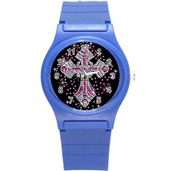 Hot Pink Rhinestone Cross Round Plastic Sport Watch Small