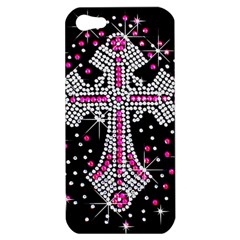 Hot Pink Rhinestone Cross Apple iPhone 5 Hardshell Case