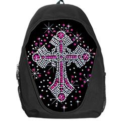 Hot Pink Rhinestone Cross Backpack Bag