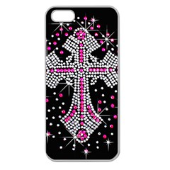 Hot Pink Rhinestone Cross Apple Seamless iPhone 5 Case (Clear)
