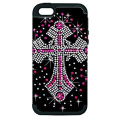 Hot Pink Rhinestone Cross Apple Iphone 5 Hardshell Case (pc+silicone)