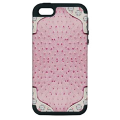 Hot Pink Western Tooled Leather Look Apple Iphone 5 Hardshell Case (pc+silicone)