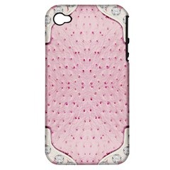 Hot Pink Western Tooled Leather Look Apple Iphone 4/4s Hardshell Case (pc+silicone)