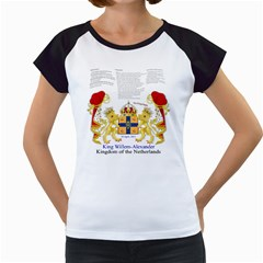 King Willem White Cap Sleeve Raglan Womens  T-shirt