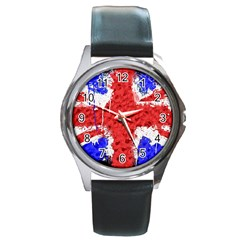 Distressed British Flag Bling Black Leather Watch (Round)