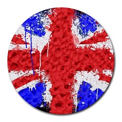 Distressed British Flag Bling 8  Mouse Pad (round)