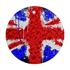 Distressed British Flag Bling Ceramic Ornament (Round)