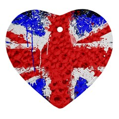 Distressed British Flag Bling Ceramic Ornament (Heart)