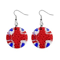 Distressed British Flag Bling Mini Button Earrings