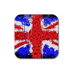 Distressed British Flag Bling 4 Pack Rubber Drinks Coaster (square)