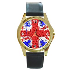 Distressed British Flag Bling Black Leather Gold Rim Watch (Round)