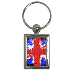 Distressed British Flag Bling Key Chain (rectangle)