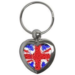 Distressed British Flag Bling Key Chain (Heart)