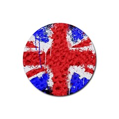 Distressed British Flag Bling 4 Pack Rubber Drinks Coaster (round)