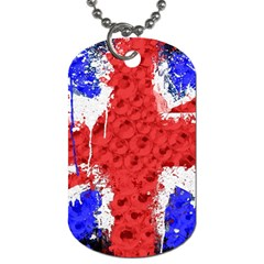 Distressed British Flag Bling Single-sided Dog Tag
