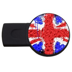 Distressed British Flag Bling 2Gb USB Flash Drive (Round)