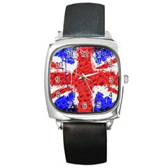 Distressed British Flag Bling Black Leather Watch (square)