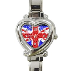 Distressed British Flag Bling Classic Elegant Ladies Watch (Heart)